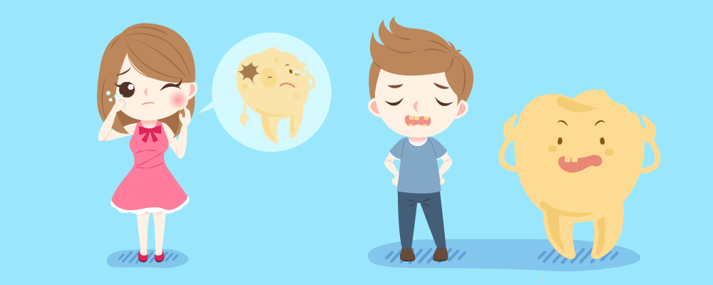 Illustration of girl holding mouth in pain and thought bubble with infected tooth, and a boy looking sad standing next to a broken tooth.