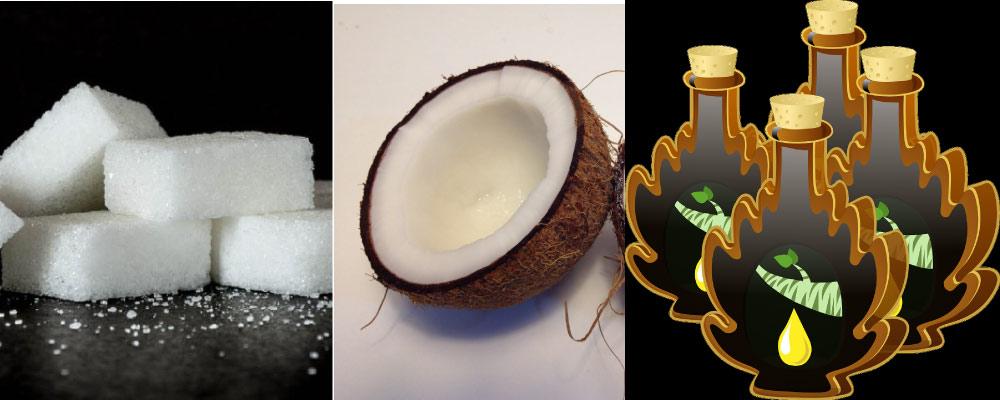 cubes coconut maple syrup sugar alternatives